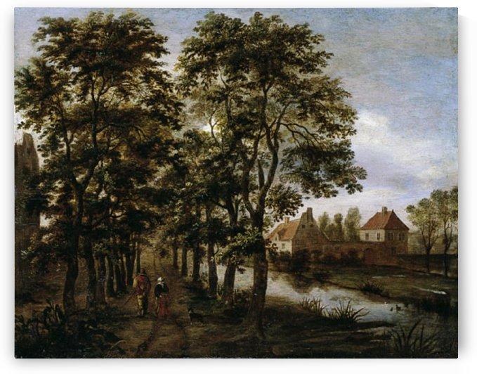 Tree-lined canal landscape by Pieter Jansz van Asch