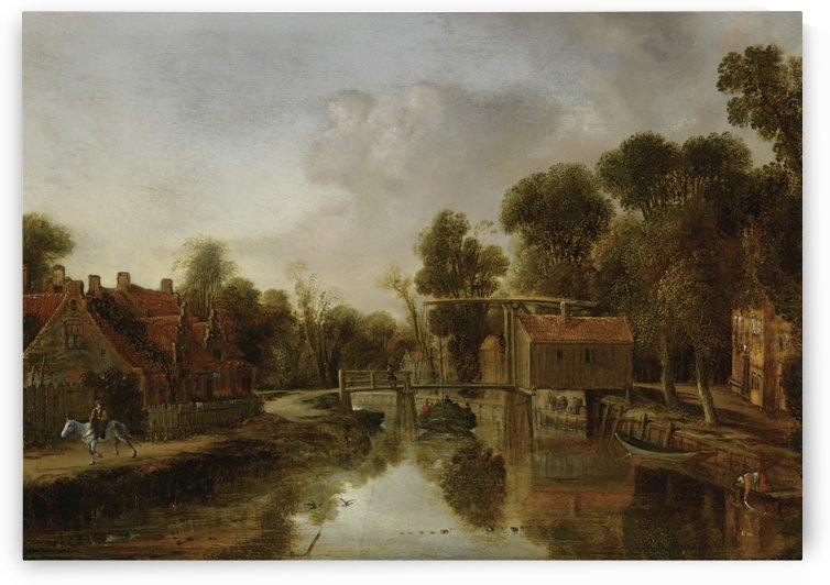Dutch town with water mill by Pieter Jansz van Asch
