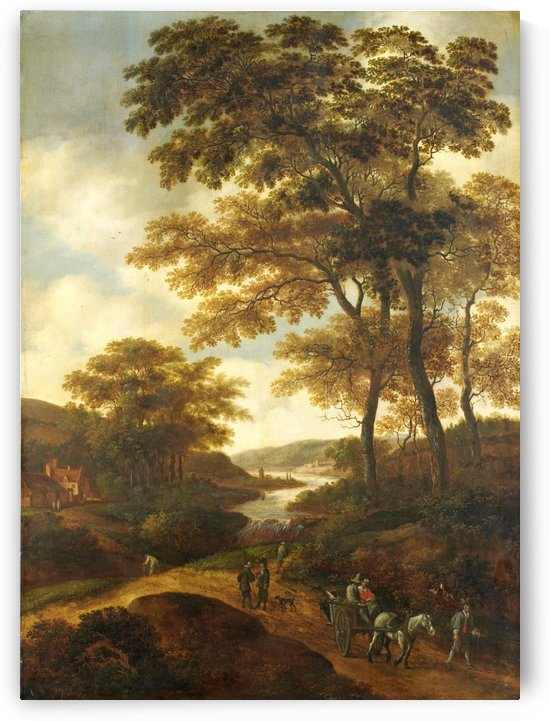 Dutch landscape with river and figures by Pieter Jansz van Asch