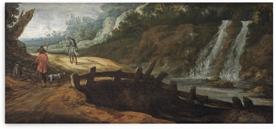 A rocky landscape with figures on a path, a waterfall to the right by Pieter Jansz van Asch
