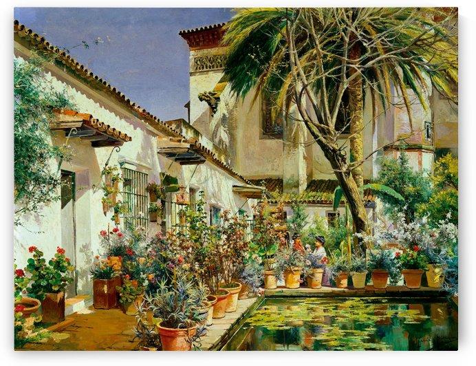 First Atrium of Santa Paula Convent Seville by Manuel Garcia y Rodriguez