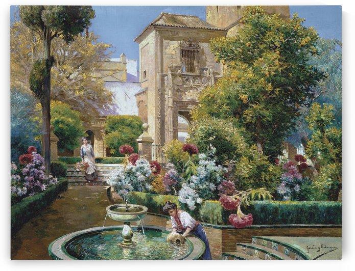 The Alcazar Gardens, Seville by Manuel Garcia y Rodriguez