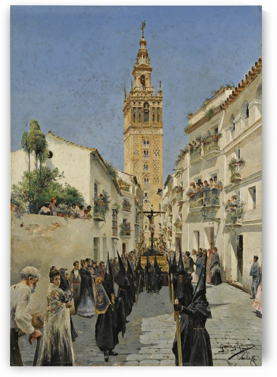 Easter Procession on Mateos Gago Street in Seville by Manuel Garcia y Rodriguez