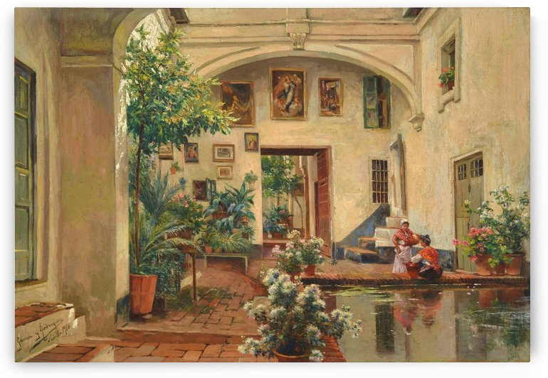 Two ladies talking in a garden with fountain and paintings by Manuel Garcia y Rodriguez