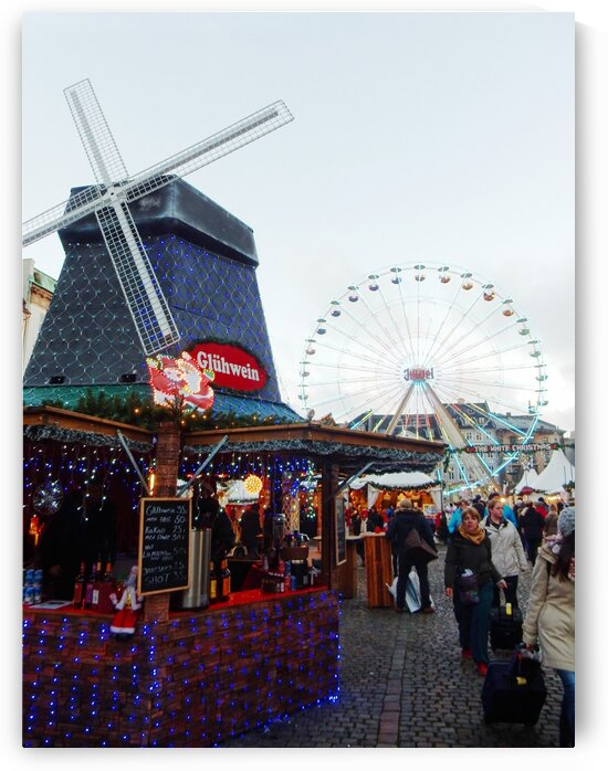 Christmas Market Copenhagen with Windmill and Ferris Wheel by Dorothy Berry-Lound