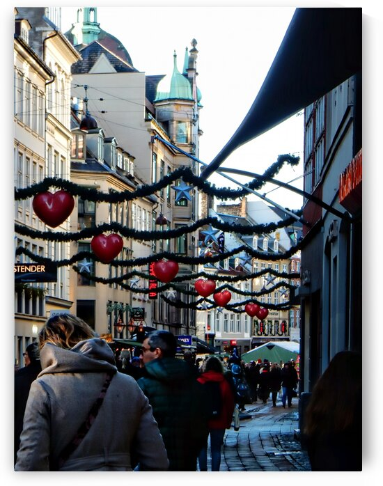 Street Christmas Decorations Copenhagen by Dorothy Berry-Lound