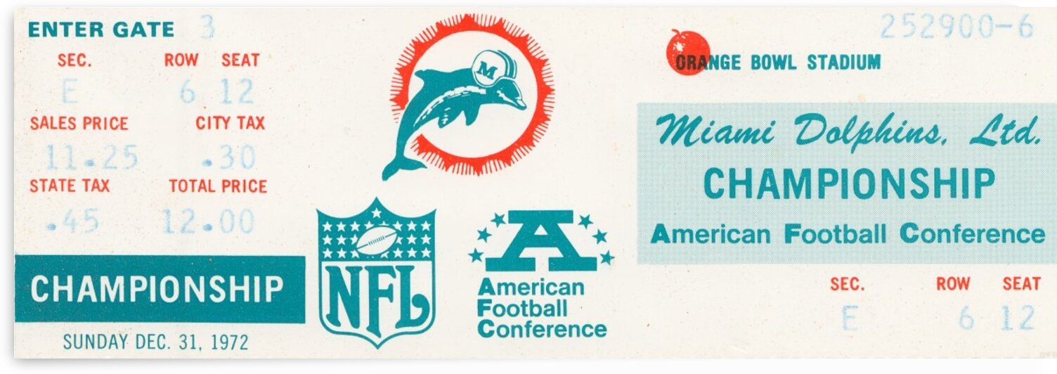 1972 Miami Dolphins Ticket Art by Row One Brand