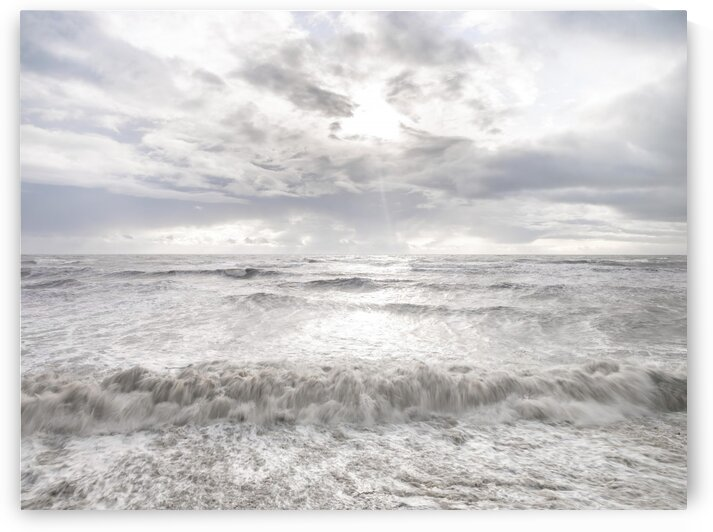 Rough and stormy sea at dusk, Charmouth, Dorset, UK by Assaf Frank
