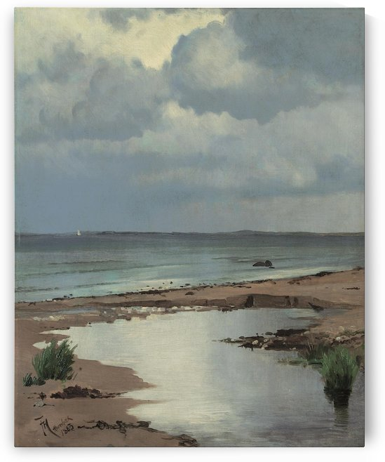 View from the beach at Hornbaek by Frants Peter Diderik Henningsen