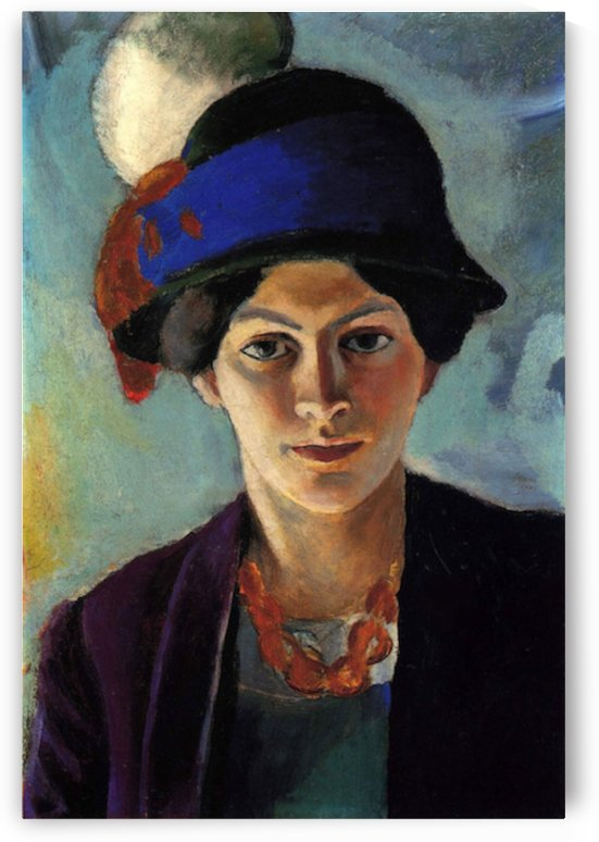 Portrait of the wife of the artist with a hat by Macke by Macke