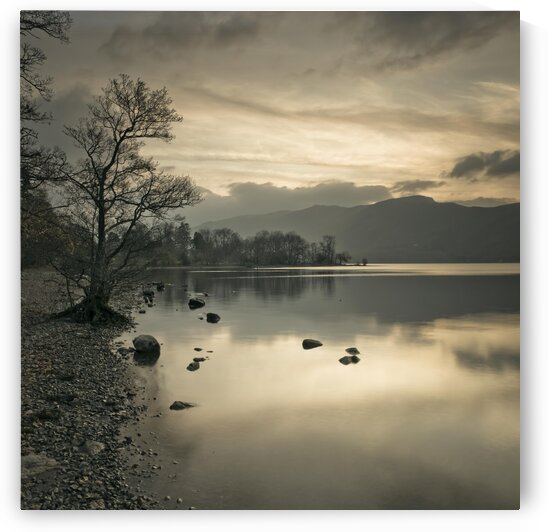 Still lake at dusk by Assaf Frank