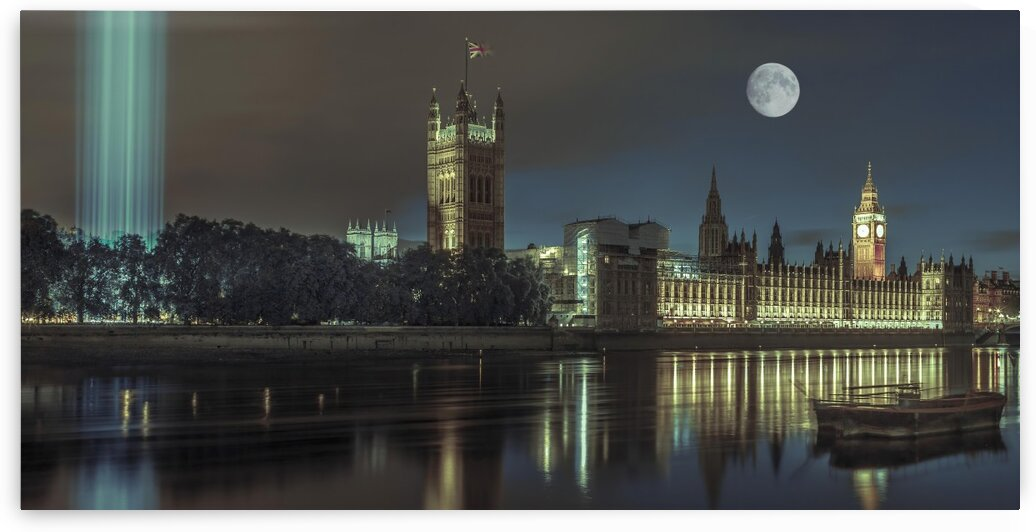 Column of spectra lights with Westminster Abby, London, UK by Assaf Frank