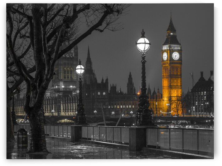 London cityscape in evening from Thames promenade by Assaf Frank