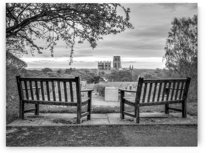 Park benches with Durham Cathedral in background by Assaf Frank