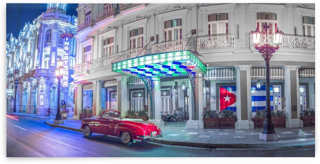 Vintage car outside hotel Inglatera, Havana, Cuba by Assaf Frank