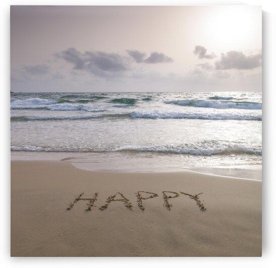 Sand writing - Word Happy written on beach by Assaf Frank