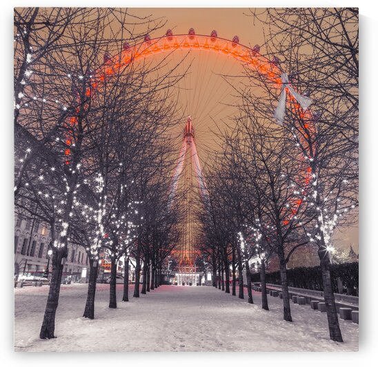 London Eye at night with trees in the foreground lit with lights and snow on the pathway, London, UK by Assaf Frank