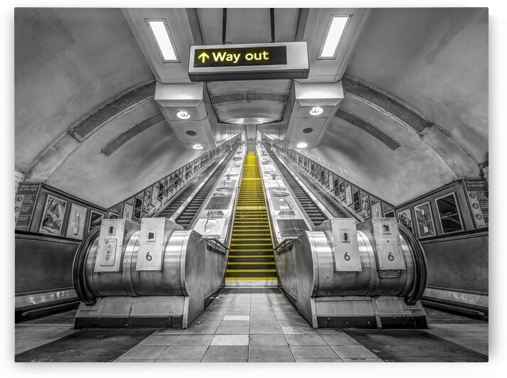 Escalators at subway station, London by Assaf Frank