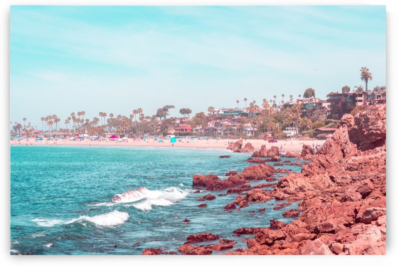 Transcending Reality - Corona Del Mar State Beach in Coral Pink and Turquoise by GeorgiaM