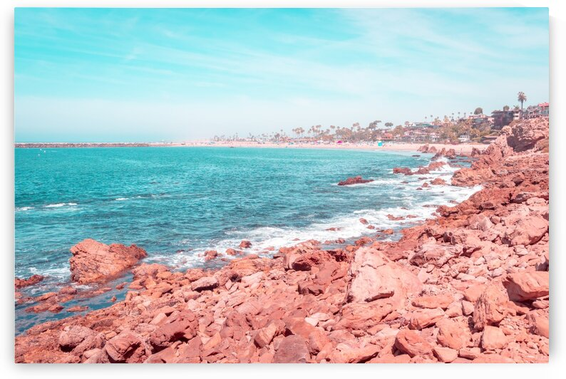 Transcending Reality - Corona Del Mar Oceanscape in Coral Pink and Turquoise by GeorgiaM