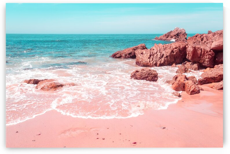 Transcending Reality - Beachscape Wave Swash in Coral Pink and Turquoise by GeorgiaM