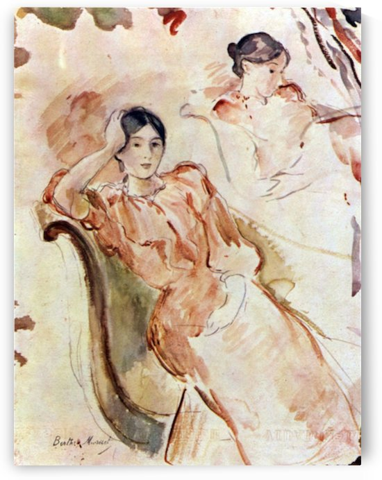 Portrait studies of Jeanne Pontillon by Morisot by Morisot