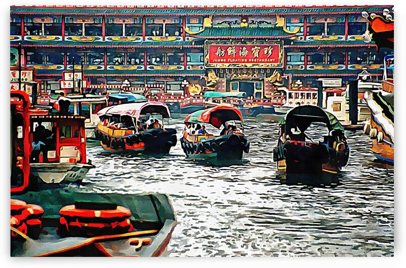 Sampans In Aberdeen Harbour Hong Kong by Dorothy Berry-Lound