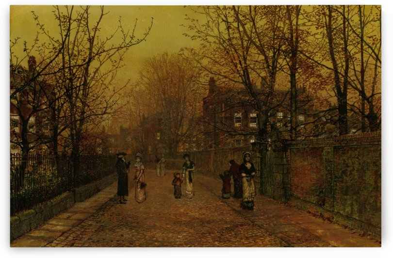 A Village Street on Sunday Eve by John Atkinson Grimshaw
