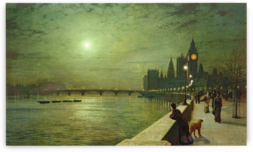 Reflections on the Thames, Westminster by John Atkinson Grimshaw