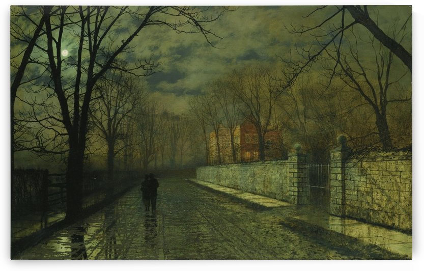 Figures in a moonlit lane after rain by John Atkinson Grimshaw