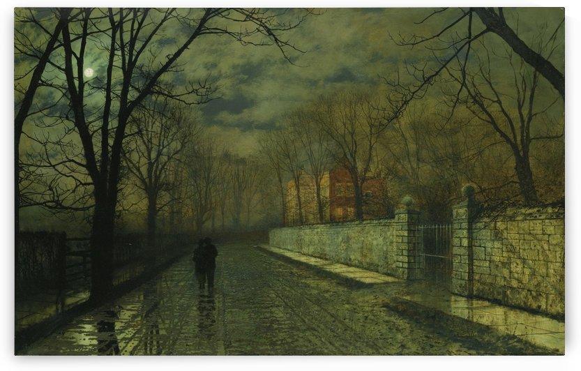 Figures in a moonlit lane after rain by John Atkinson Grimshaw