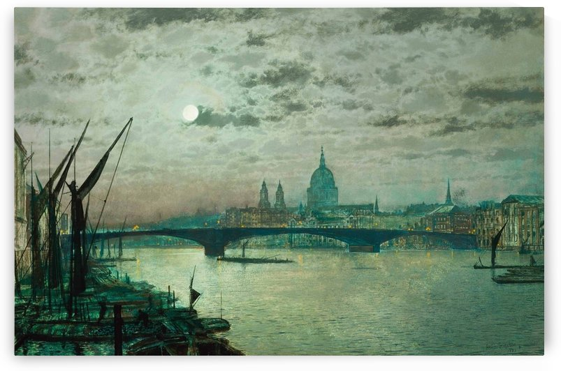 Southwark Bridge and Saint Paul Church by John Atkinson Grimshaw
