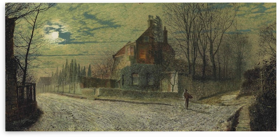 Yew Court, Scalby, on a November night by John Atkinson Grimshaw