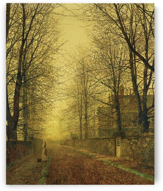 Lady within autumn glow by John Atkinson Grimshaw