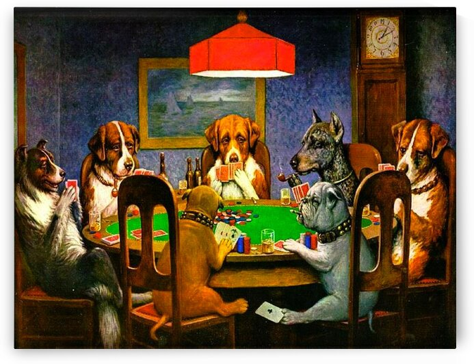 Cassius Marcellus Coolidge: Dogs Playing Poker -  A Friend in Need HD 300ppi by Stock Photography
