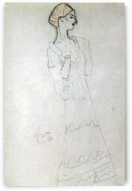 Profile standing female figure with raised arms by Klimt by Klimt