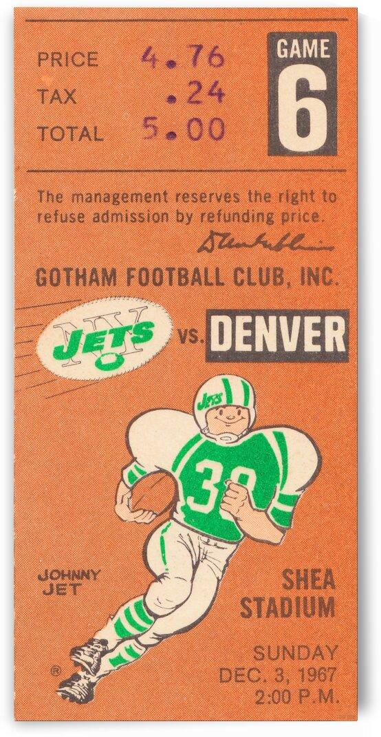 1967 New York Jets vs. Denver Broncos Ticket Art by Row One Brand
