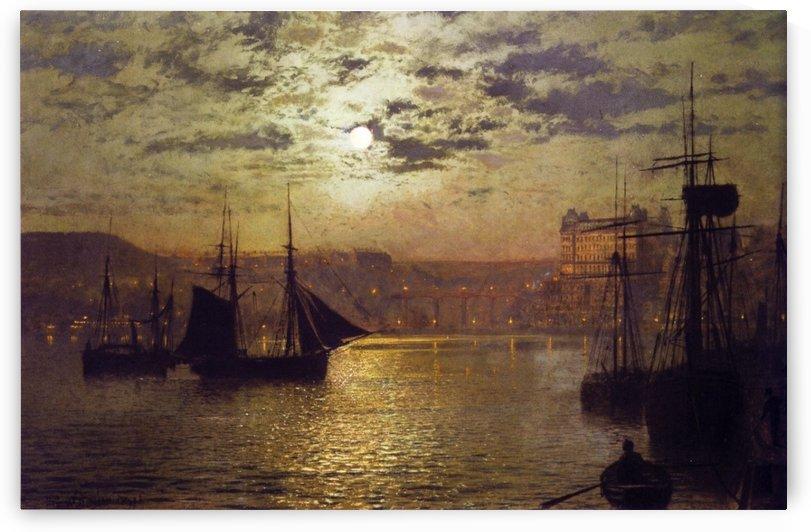 Scarborough harbour by John Atkinson Grimshaw