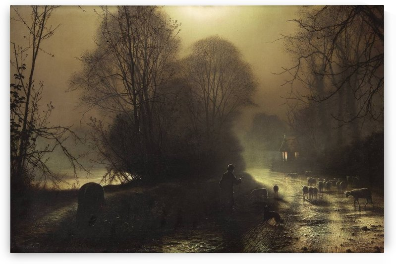 Shepherd with sheep in a moonlit lane by John Atkinson Grimshaw