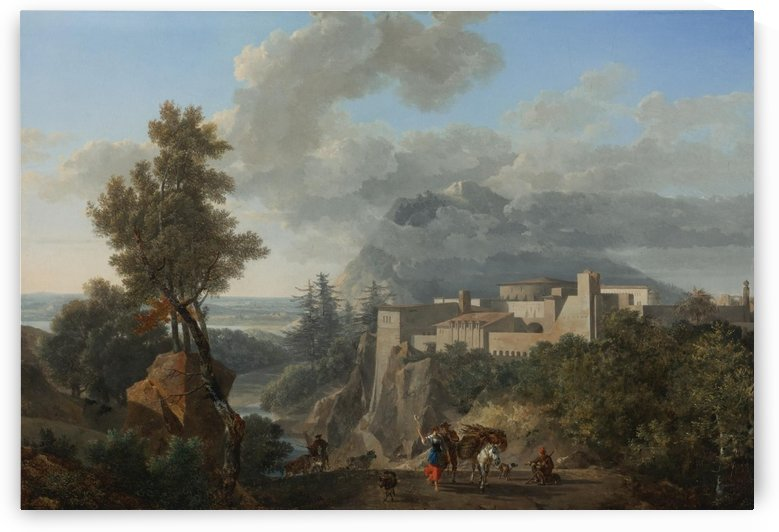 A view near Messina, with peasants and animals by Nicolas Antoine Taunay