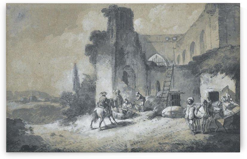 La halte des comediens dans la ferme by Nicolas Antoine Taunay