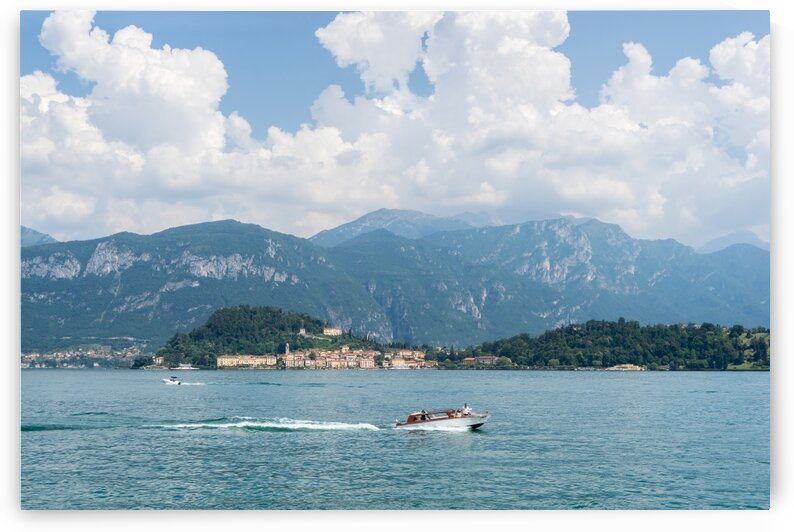 Powerboating Across Lake Como - White Boat and Bellagio Village by GeorgiaM