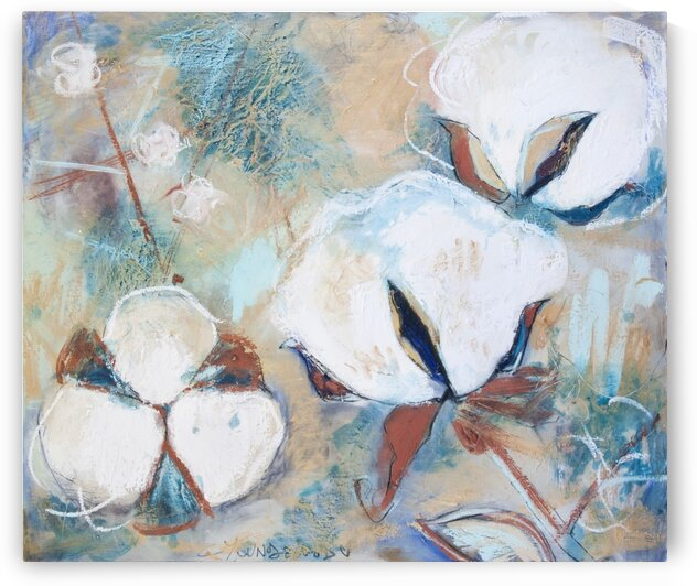 Louisiana Cotton White Gold and Teal by Caroline Youngblood