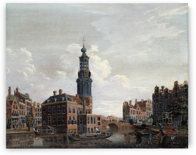 View of the Singel with the Munttoren in Amsterdam by Isaac Ouwater