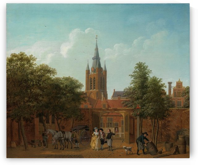 A courtyard in Delft with the Oude Kerk by Isaac Ouwater