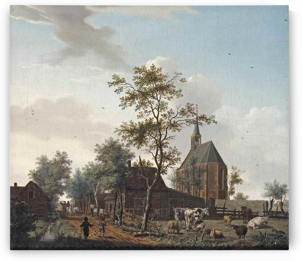 A view of the village of Grosthuizen near Avenhorn by Isaac Ouwater