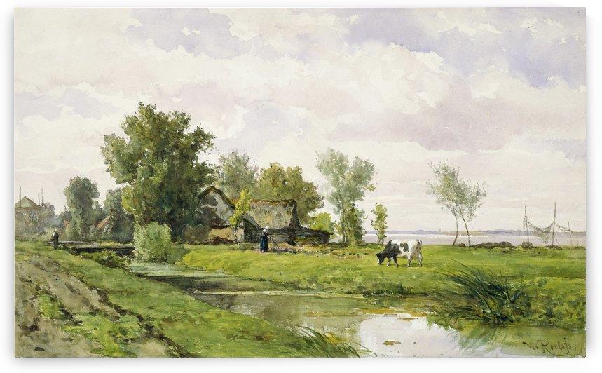 Boerderij aan een sloot by Willem Roelofs