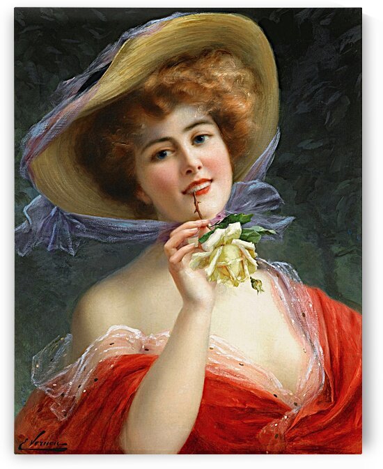 Beautiful Elegant Lady In Red With Yellow Rose_OSG by One Simple Gallery