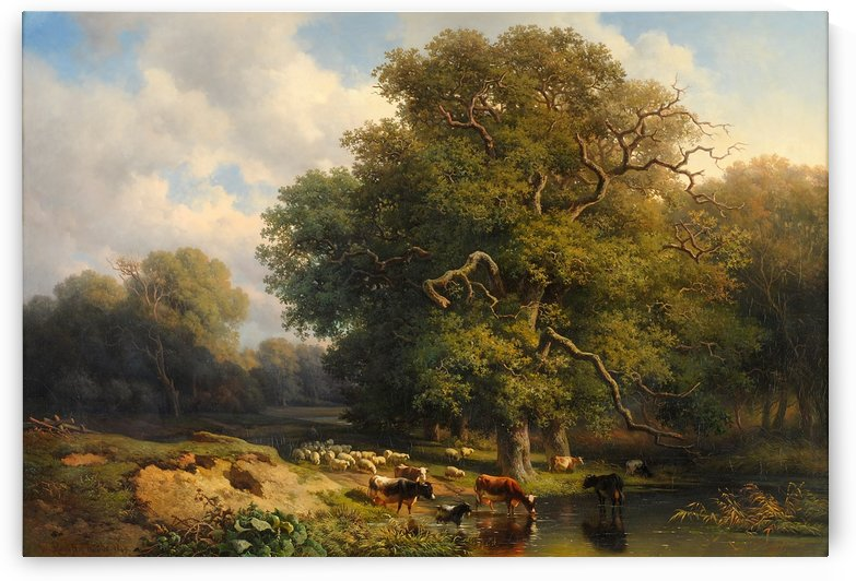Wooded landscape with lake and grazing cattle by Willem Roelofs