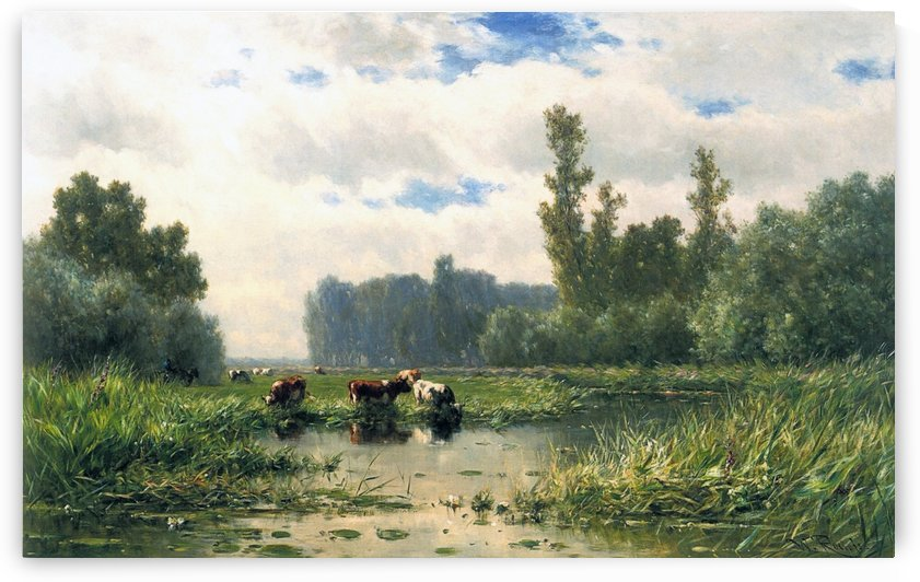 Cows at the waterside by Willem Roelofs